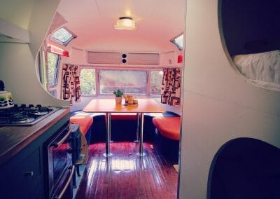 Airstream Sovereign glamping dining area