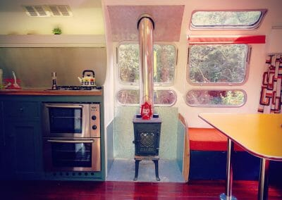 Airstream Sovereign glamping kitchen and woodturner